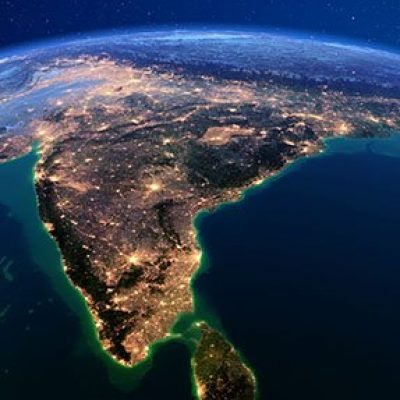 Planet Earth with detailed exaggerated relief at night lit by the lights of cities. India and Sri Lanka. 3D rendering. Elements of this image furnished by NASA